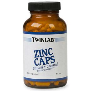 Zinc 50mg 180 caps from Twinlab (Vitamins Supplements - Zinc)