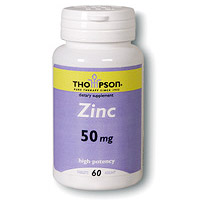 Zinc High Potency 50mg 60 tabs, Thompson Nutritional Products (Vitamins Supplements - Zinc)