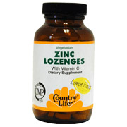 Zinc Lozenges 23 mg + Vitatmin C 60 Tablets, Country Life (Vitamins Supplements - Zinc)