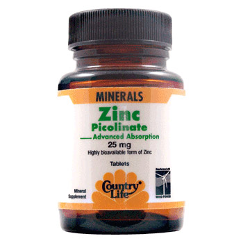 Zinc Picolinate 25 mg, 100 Tablets, Country Life