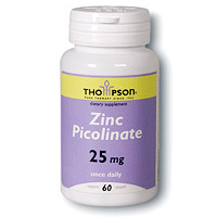 Zinc Picolinate 25mg 60 tabs, Thompson Nutritional Products (Vitamins Supplements - Zinc)