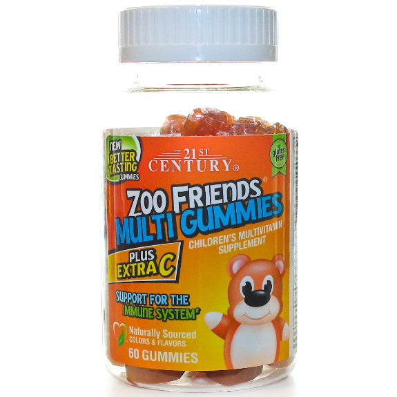 Zoo Friends Multi Gummies Plus Extra C, Childrens Multi-Vitamin Chewable, 60 Gummies, 21st Century HealthCare
